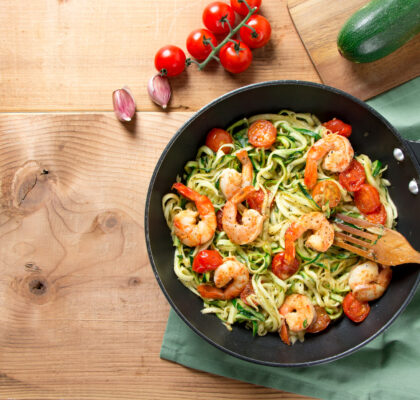 Roasted Prawns and Tomatoes with Zucchini Noodles