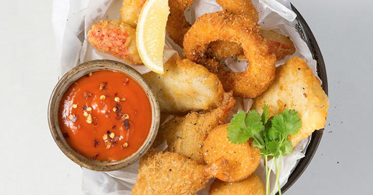 Seafood basket with a Chilli Cocktail Sauce