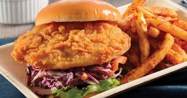 Southern Fried Barramundi Burger with Southern Fries and a Cool Ranch Dip