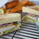 Fish Sandwich with a Spicy Guacamole Spread