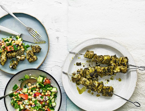 grilled hake skewers