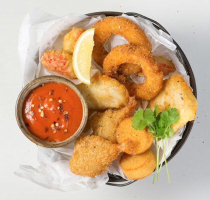 Seafood Basket with a Spicy Chilli Mayonnaise