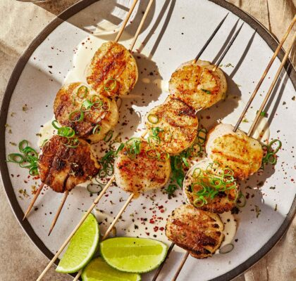 scallops with nori, ginger and lime