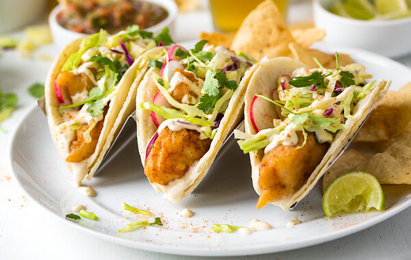 Takeaway Classic: Baja Fish Tacos with Citrus Slaw & Spicy Lime-Garlic Mayo