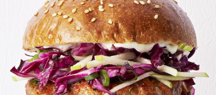 Stunning Salmon Burgers with Cabbage-Apple Slaw