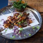 Salmon Skewers in Sweet Soy, Ginger and Lemongrass with a Dried Lime Dressing