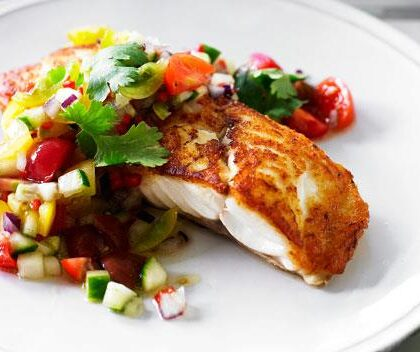 Pan-fried snapper with jewelled tomato chilli salsa
