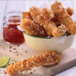Chilli Squid with a Chicory Caesar Salad