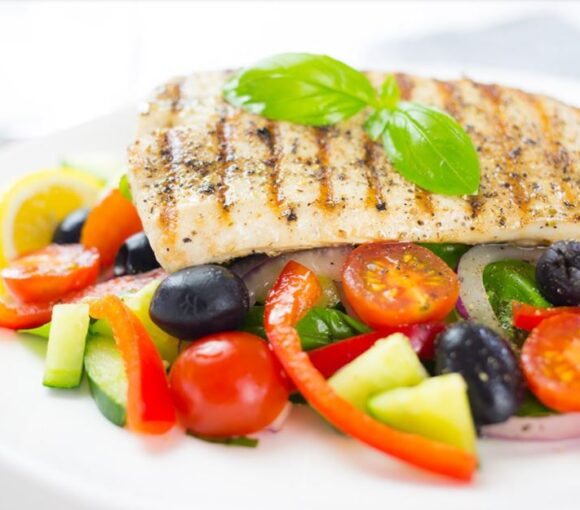 Pan-Fried Snapper with Greek Style Salad