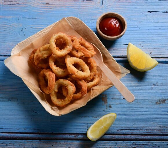 MSC Certified Shortfin Calamari Rings with a Spicy Tomato Sauce