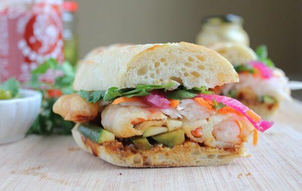 Authentic Tempura Prawn Banh Mi Sandwich