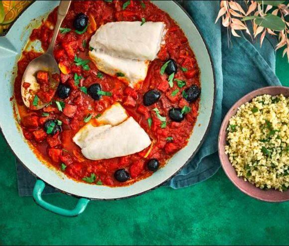 Cod with tomato, olive and chorizo sauce..