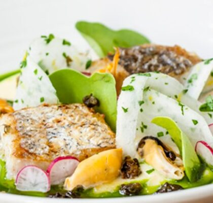Hake with radish, mussels and cider butter