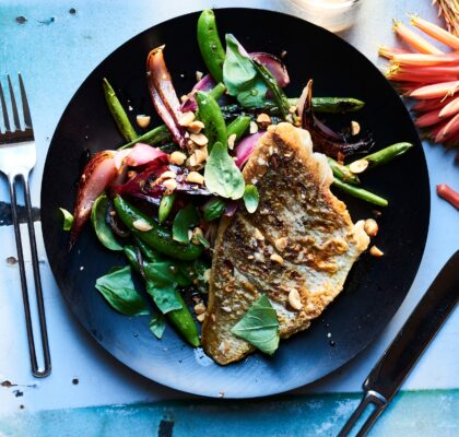 Snapper with Blistered Bean Salad and Chilli Vinegar