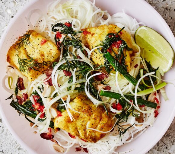 Turmeric Snapper Fillets with Rice Noodles and Herbs