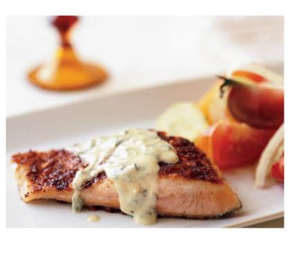 Marinated Salmon with Salmoriglio Sauce