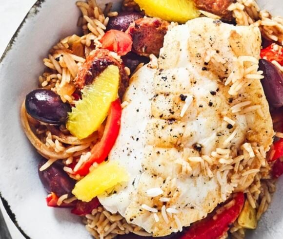 Roast Snapper with Chorizo, Sherry and Rice