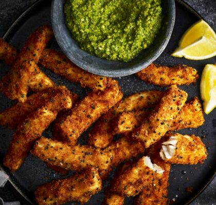 Goujons with Parmesan Crust and Pea Pesto