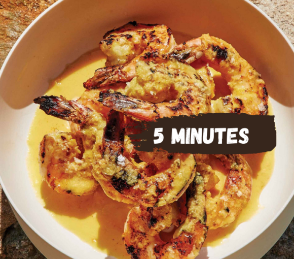 Grilled PRAWNS with Turmeric Mojo Sauce