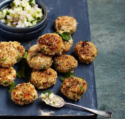 Thai fishcakes with sweet and sour cucumber pickle
