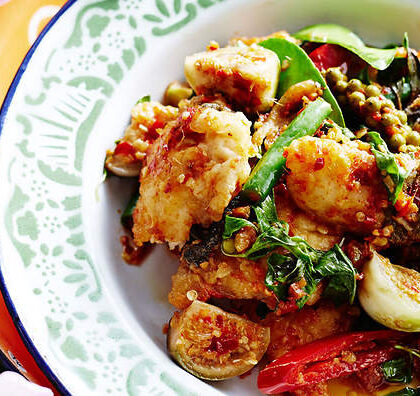 Stir-fried fish with chilli, ginger and eggplants (padt char bpla)