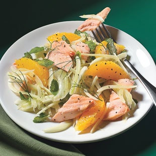 salmon salad with fennel orange and mint